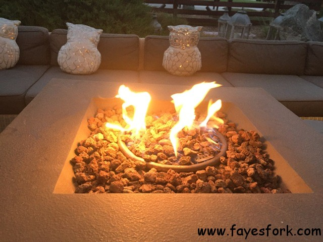 FIREPIT LIT WITH OWLS WATCHING