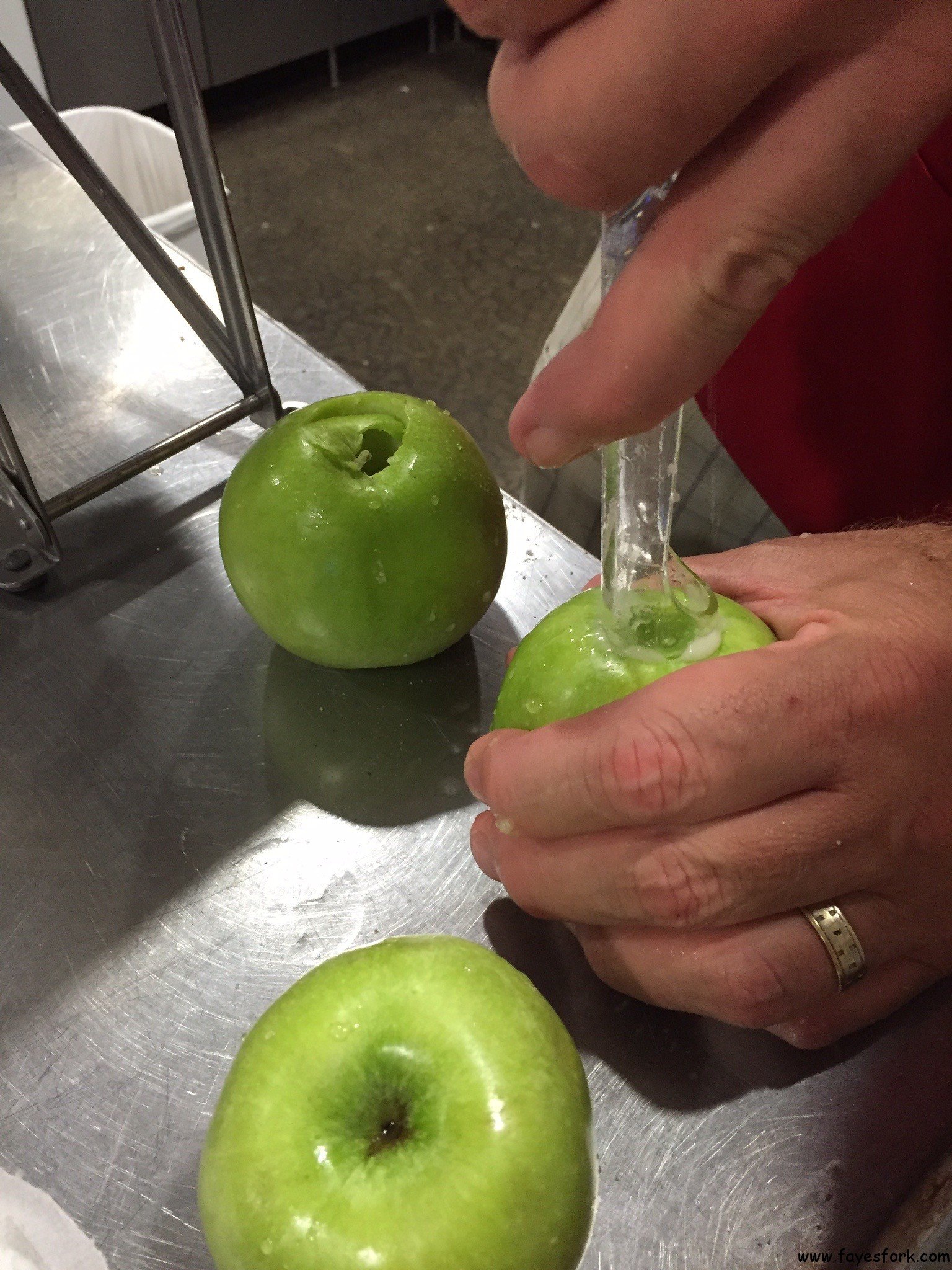 CORING THE GRANNY SMITH APPLES